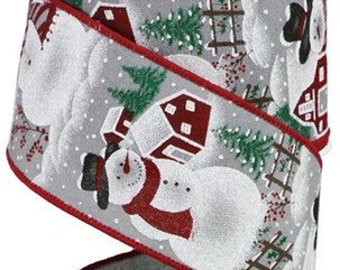 White Christmas Ribbon DIY Projects 2.5 WIRED Red Grey Wreath Making Supply Bow Making and Black Santa Snowman with Dog Wired Ribbon