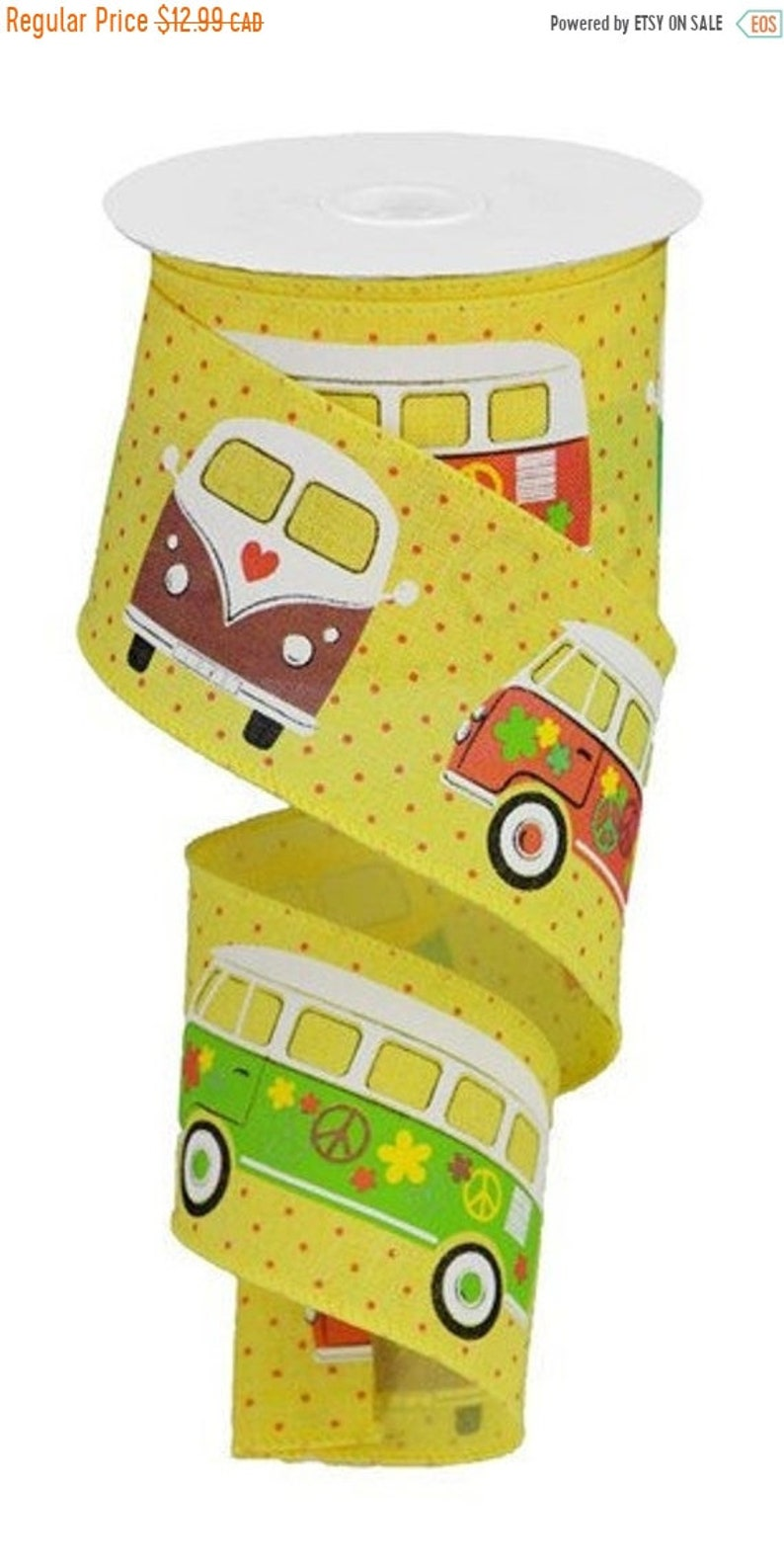On Sale 2.5 WIRED Multi Color Retro Bus on Yellow With Red Dots Royal Ribbon Bow Making Ribbon DIY Pro Wreath Making Ribbon 60/'s Ribbon