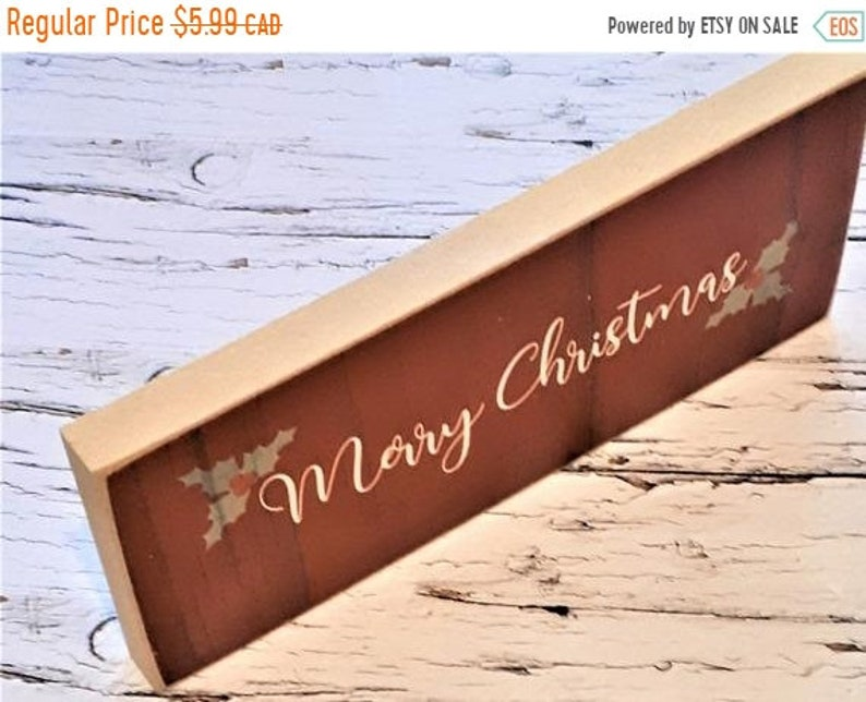 Wreath Making Supply Rustic Christmas Sign Wood Christmas Sign DIY Projects On Sale Merry Christmas Wood Block Sign