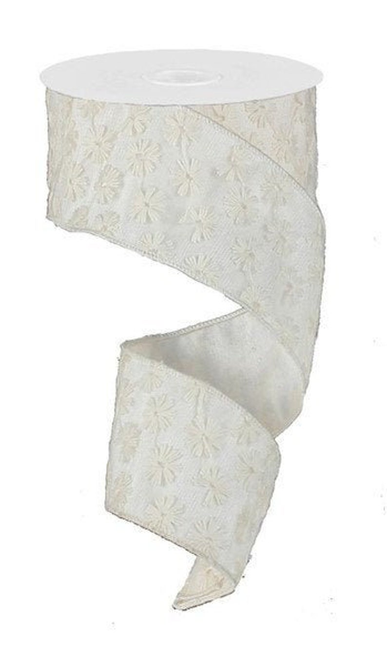 2.5 WIRED Faux Dupioni Ivory and Cream Overlay Ribbon Wreath Making Supply Ivory and Cream Ribbon DIY Projects Bow Making Ribbon