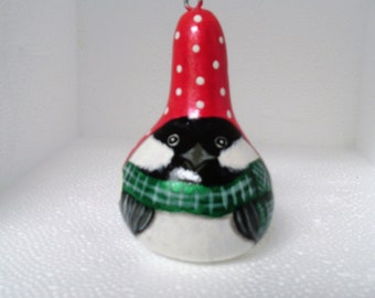 Painted Mini Gourd Chickadee, Christmas Ornament, Painted Gourd Bird Ornament