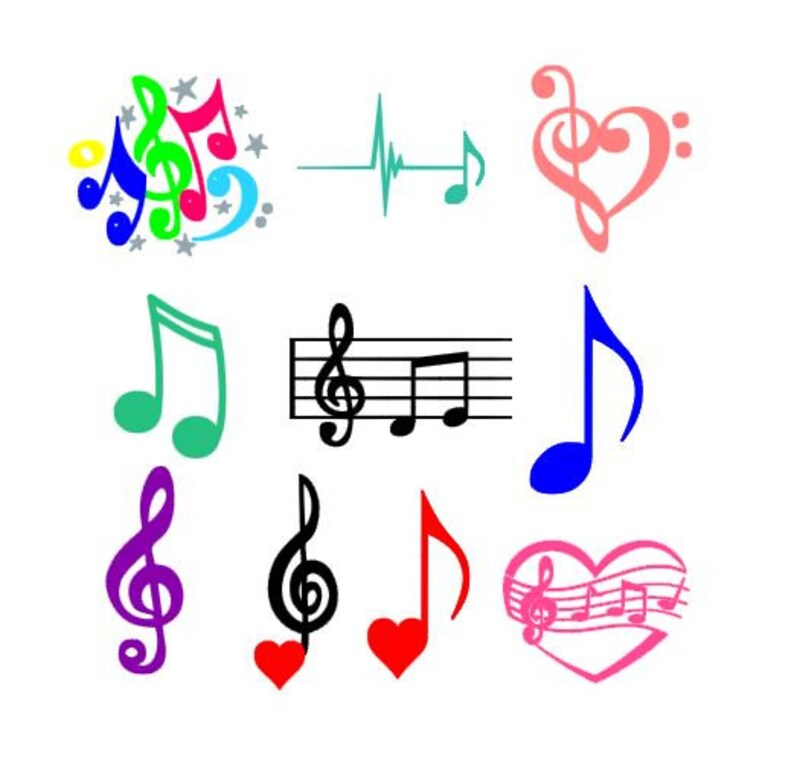 Music Notes Set SVG, Studio 3, DXF, EPS and pdf Cutting Files for  Electronic Cutting Machines