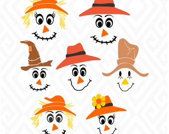 Scarecrow Faces; SVG, DXF, EPS, Ai, Jpeg, Png and Pdf Digital Files for Electronic Cutting Machines