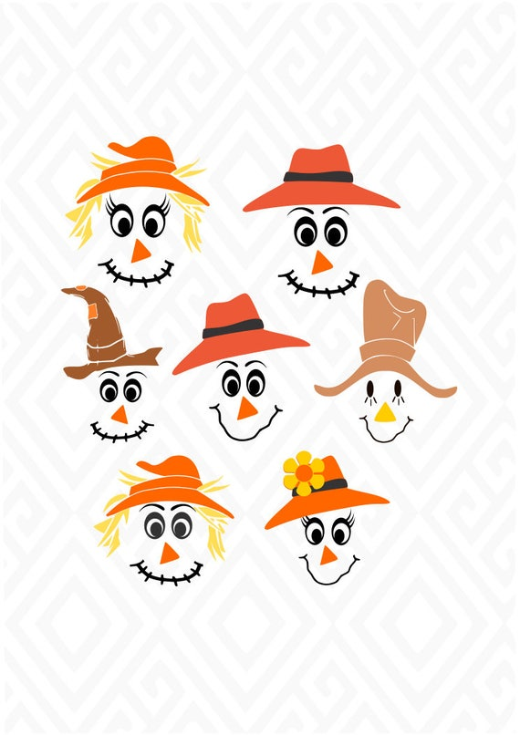 Scarecrow Faces Svg Dxf Eps Ai Jpeg Png And Pdf Digital Etsy