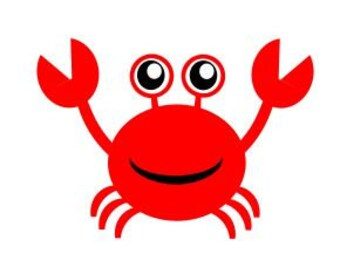 Cute Crab; SVG, Studio 3, DXF, PS, Ai and Pdf Cutting Files for Electronic Cutting Machines