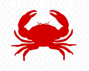 Simple Red Crab, Crab Svg, Beach Svg, Ocean Svg, Crab T Shirt Svg, SVG, DXF, AI, Eps and Pdf, Png, Jpeg Cutting Files Printing Files