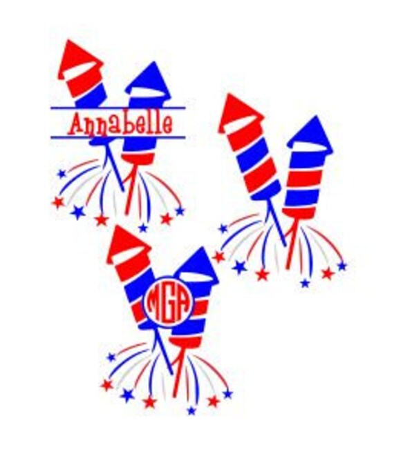 4th Of July Monogram Double Rockets Svg Studio 3 Dxf Ai