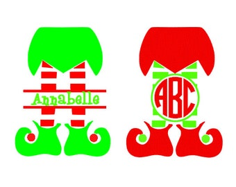 Elf Legs Monogram Set SVG, DXF, EPS and pdf Cutting Files for Electronic Cutting Machines