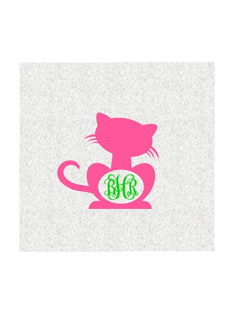 Download Cute Cat Monogram SVG DXF PS Ai and Pdf Cutting Files for ...