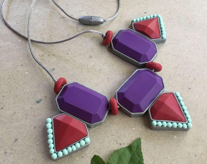 MAYAN BIB NECKLACE// Handmade, jewel toned, geometric bib// purple, red and aqua statement necklace// Little Tusk