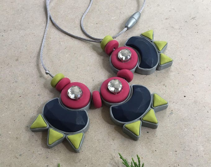 CIAO BELLA NECKLACE// Handmade polymer clay gemstone & rhinestone statement necklace// Navy, raspberry and chartreuse//