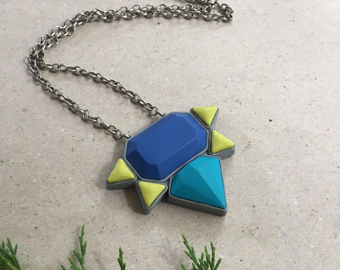STARBURST NECKLACE// Little Tusk handmade, polymer clay, jewel toned pendant// Blue, teal and chartreuse, silver trim pendant//  #PN4043
