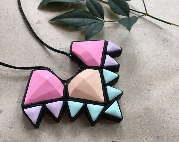 VIVID AZTEC  BIB necklace// Handmade bright geometric polymer clay jewel necklace, black, pink, peach, aqua & lavender// pastel//#SN3031