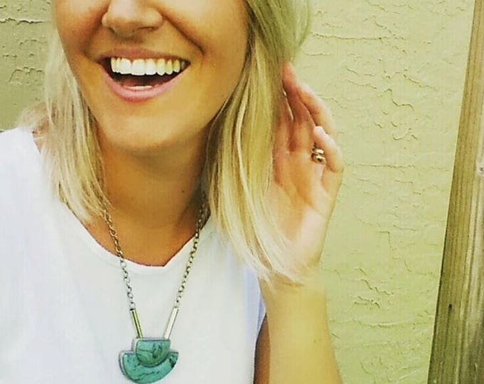 TURQUOISE TORRENT NECKLACE//  Handmade turquoise polymer clay geometric pendant, silver trim and cable link chain// Little Tusk// #PN4041