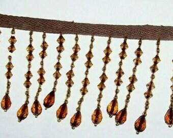 Elegant Amber Crystal Fringe Trim on Ribbon