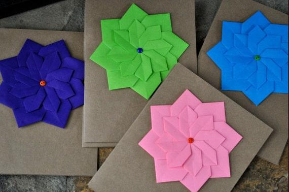 Simple Origami Flower Cards Blank Inside Etsy