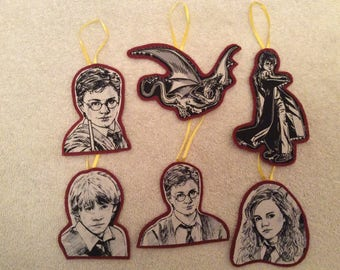 Harry Potter Ornaments (maroon)-Set of 6