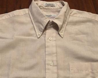 3c8580ed 1960s 70s HATHAWAY Oxford Cloth Cotton Blend Striped Button Down Shirt | 15  - 32/33 Small Medium | Long Sleeve Ivy League Trad