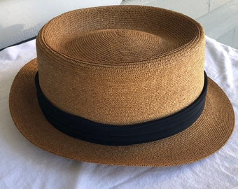 0d4de24d Vintage BROOKS BROTHERS Straw Tan Fedora Hat | Size 7 | Ivy League Trad  Summer