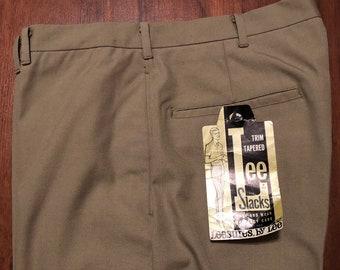 2a88002e Deadstock 1960s LEE LEESURES Khaki Tan Cotton Blend Pants   32 x 29   Ivy  League Trad