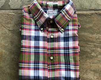 Deadstock INDIA MADRAS Bleeding Cotton Plaid Popover Button Down Shirt  239589b505