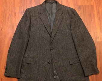 aa2d17fc888 1960s Herringbone Tweed Wool Gray Sack Sport Coat