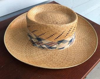 16521a0e3b59a Vintage Straw Tan Wide Brim Hat
