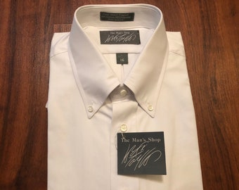 aab37c7033e3f4 Deadstock LORD & TAYLOR Pinpoint Oxford Cloth Cotton Blend White Button  Down Shirt | 16 Large | Short Sleeve Ivy League Trad
