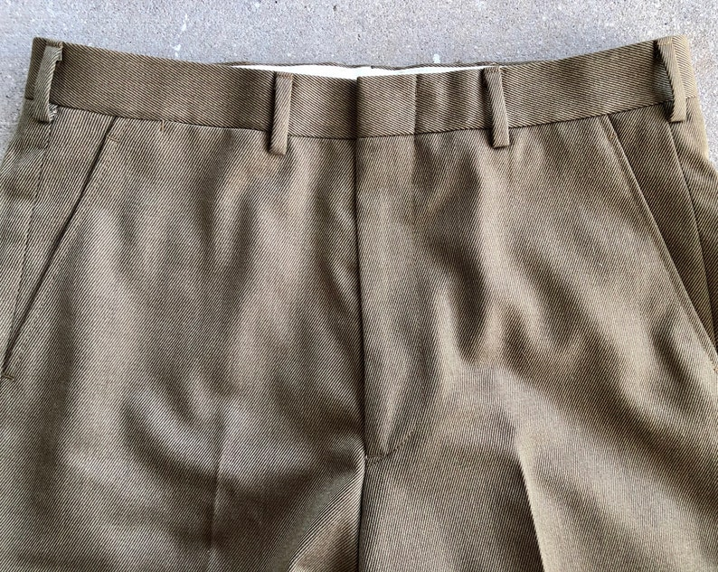 Hertling Ivy League Trad PRESS Brown Whipcord Wool Pants Trousers 33 x 29.75 J