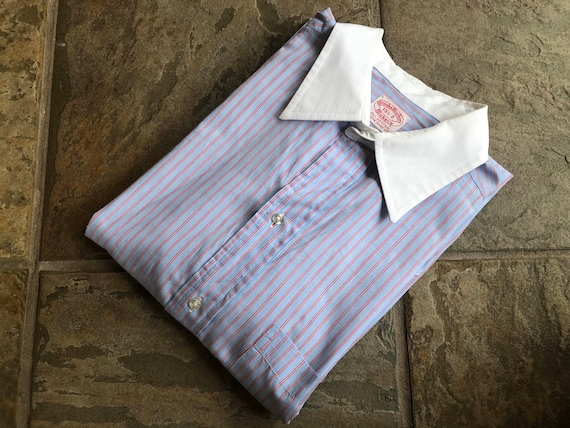 1970s BROOKS BROTHERS End on End Cotton Blue & Red