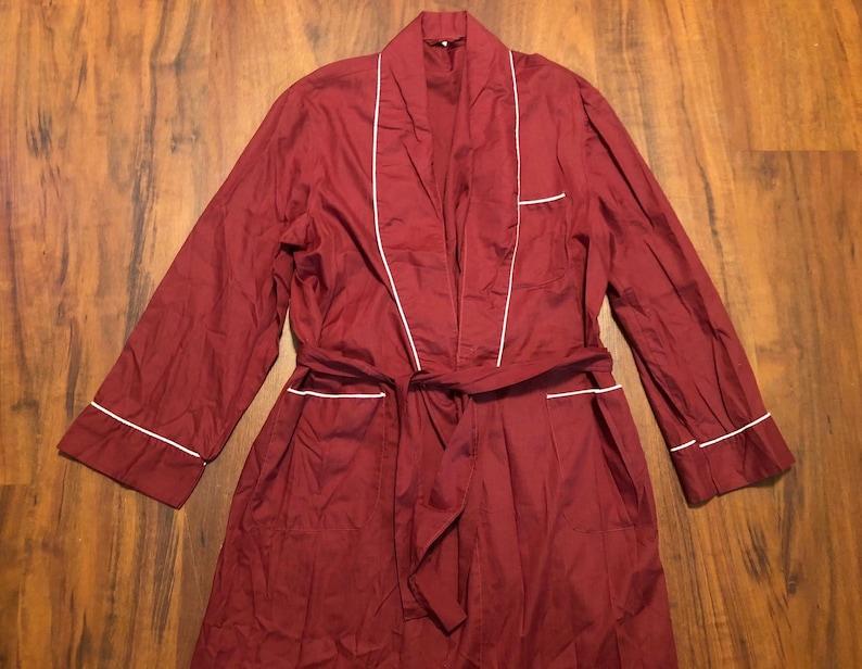 Medium 1960s 70s Cotton Blend Red Belted Robe Ivy League Trad Sleepwear Loungewear