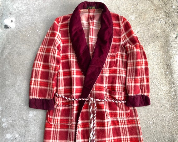 1940s 50s BEACON Acetate Cotton Flannel Red Plaid