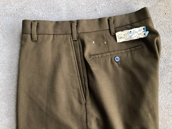 Deadstock 1960s Brown Cotton Blend Whipcord Pants