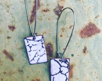 Black and White Enameled Copper Earrings