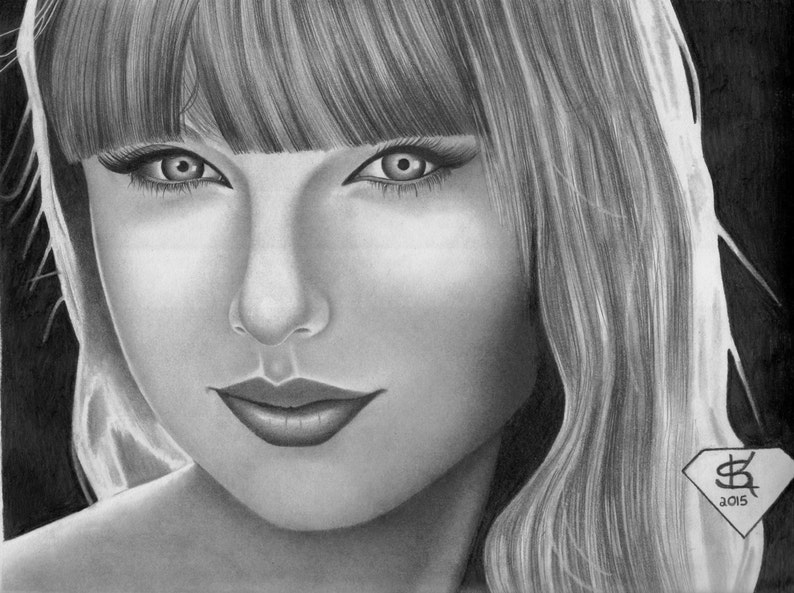 Original Había Enmarcado Retrato Dibujo De Taylor Swift Etsy