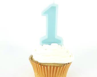 Aqua Birthday Number Candle