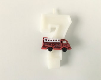 Fire Truck Birthday Number Candle