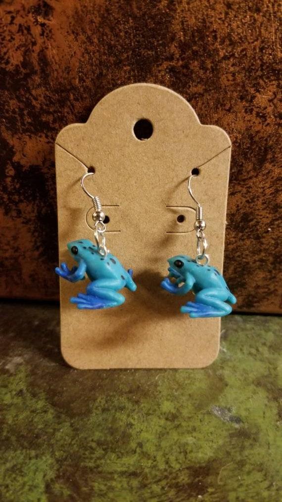 Custom Tiny Toy Blue Dart Frog Earrings