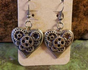 Custom Steampunk Plastic Gear Heart Earrings