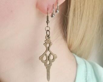 Custom Bronze Colored Clock Hand Earrings