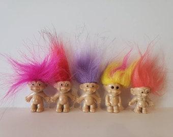 LUCKY TROLL DOLL VTG  KEY-CHAIN choose ORANGE GREEN or YELLOW HAIR RETRO