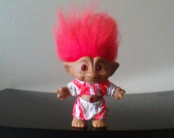 a164a340011c Vintage Ace Novelty Treasure Troll Doll Totally 80s Neon Outfit, Red Hair,  Red Diamond Jewel, Orange Eyes Wishstone Trolls 5