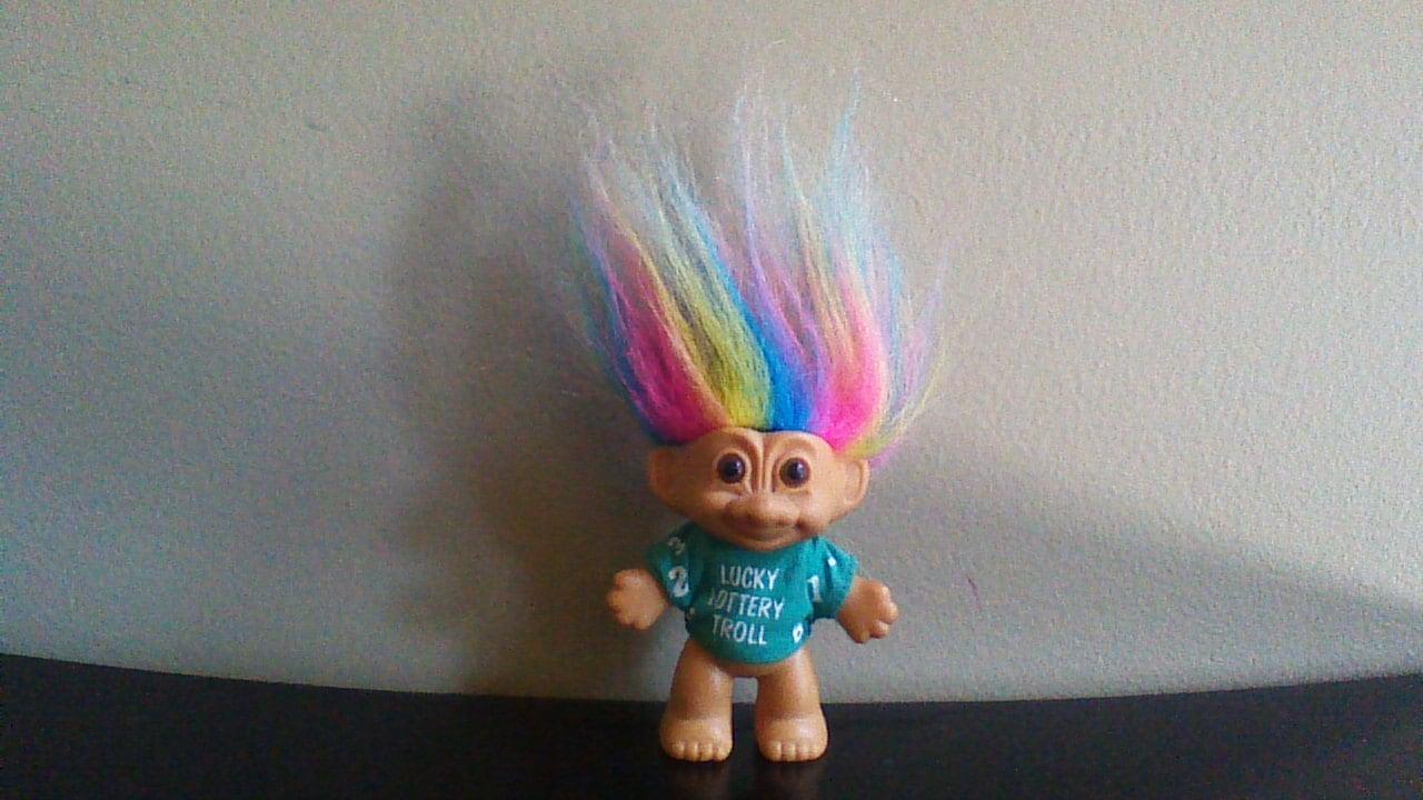 Vintage Russ Troll Doll Lucky Lottery Rainbow Hair Trolls Etsy