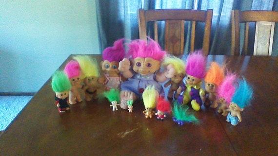 huge lot of 15 vintage troll dolls russ dam treasure etsy
