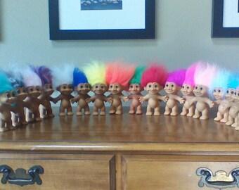 "Vintage Russ Troll Dolls, BEST SELLER, 5"" Naked Trolls, Yellow Orange Pink Red Purple Green Blue Gray White Peach Teal Rainbow hair"