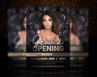 Grand Opening Flyer Template Salon Beauty Black And Gold