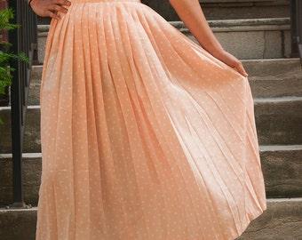 1990's ms chaus pink pokadot pleated skirt tag size 12