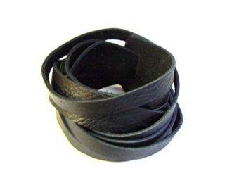 Black Leather Double Wrap Cuff Bracelet