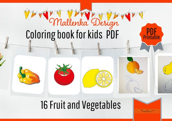 - Coloring Pages For Kids Fruits / Coloring Book For Kids Pdf / Etsy
