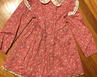 60s/70s JcPenny brand vintage floral print children's dress cute bows classy classic retro flowers sears awesome mall kids girls great htf